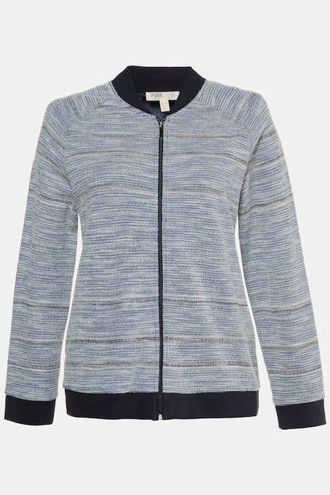 Eco Cotton Stripe Zip Front Raglan Sleeve Sweatshirt