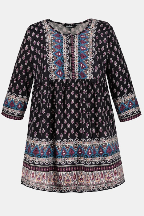 Medallion Print Sofia Empire A-line Cotton Knit Tunic