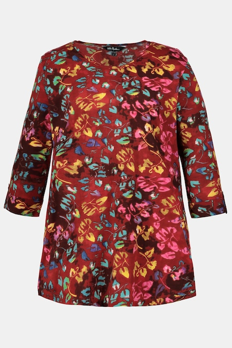 Colorful Leaf Print Roll Sleeve Cotton Knit Tunic