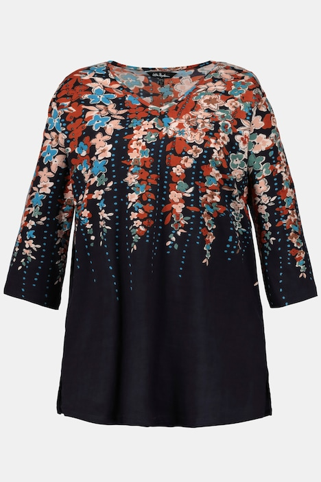 Raining Flowers V-Neck Cotton Knit Tunic