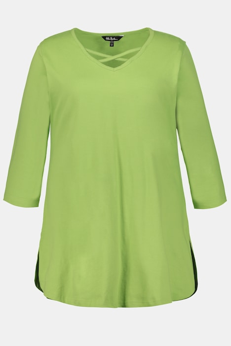 Crossover V-Neck A-line Swing Cotton Knit Tunic