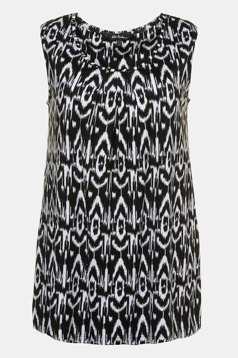 Ikat Graphic Round Neck Stretch Knit Tank