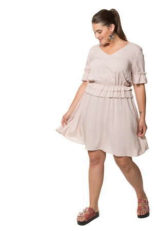 1a1f4f28934377 Ulla Popken Kleid, gemustert, Volants, Halbarm - Große Größen in multicolor