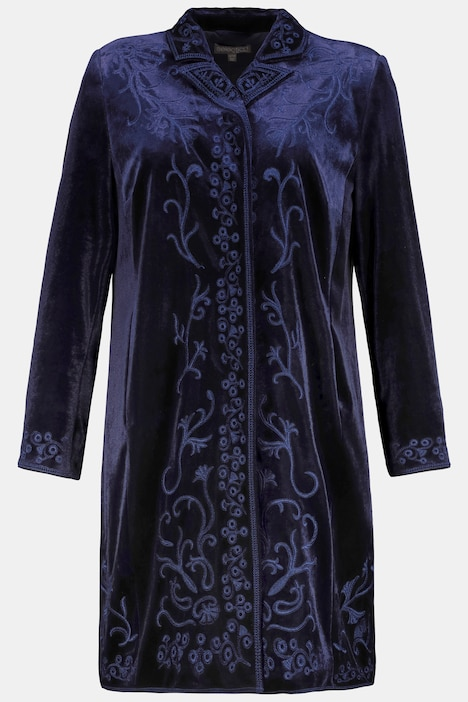 Velvet Embroidered Lined Stretch Duster Blazer