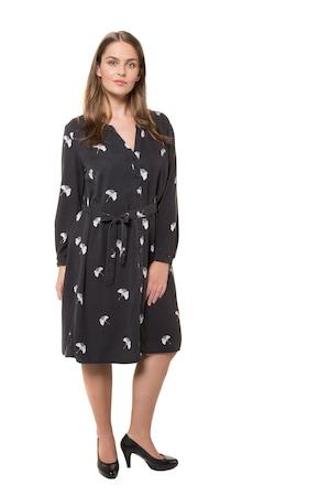 Ulla Popken Kleid, Gingkomuster, Knopfleiste, Bindegürtel, Lyocell - Große Größen
