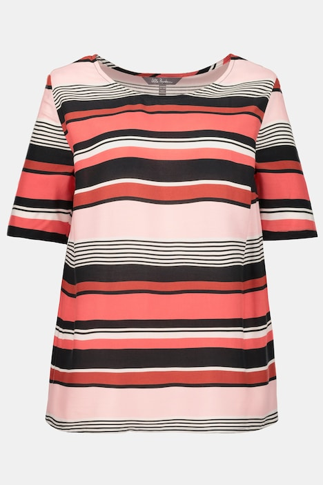 Striped Round Neck Short Sleeve Blouse