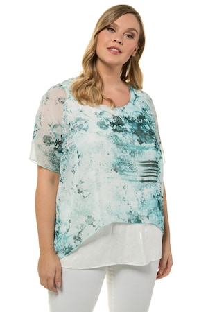 Grote Maten Blouse, 2-in-1, oversized, Dames, maat 62/64 wit-pacific | Korte mouw