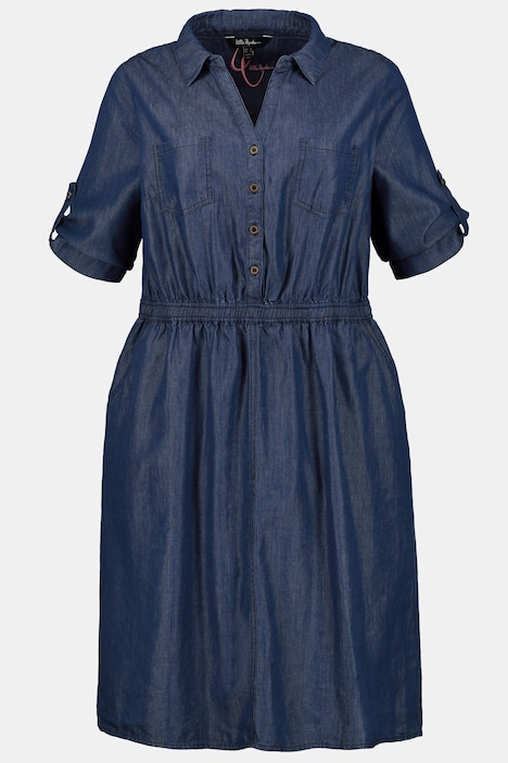 Button Front Denim Look 4-Pocket Dress