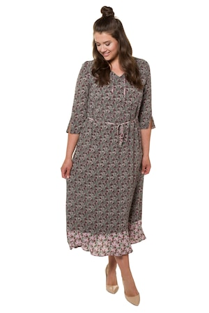Ulla Popken Kleid, Streublumen, Bindeband, schmaler Gürtel, Volantsaum - Große Größen