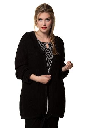 bei Ulla Popken: Ulla Popken Strickjacke, Strukturstrick, lange Form, Saum-Bindeband - Große Größen - Jacken und Mäntel
