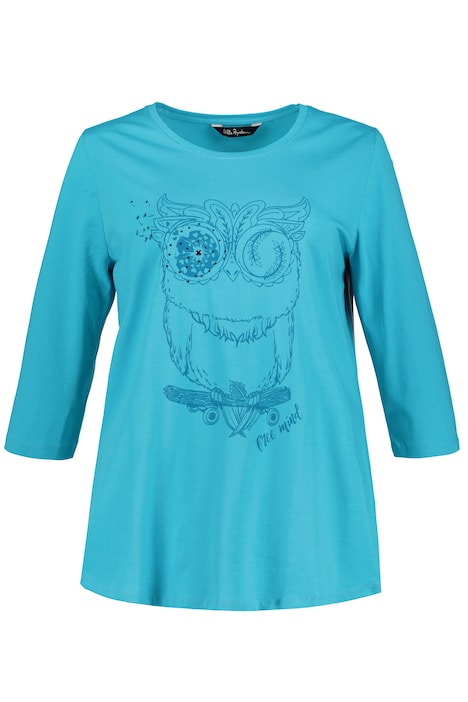 Whimsical Owl Print Stretch Cotton Knit Tee