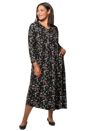 Ulla Popken Kleid, geblümter Jersey, Prinzess-Silhouette, lange Ärmel - Große Größen