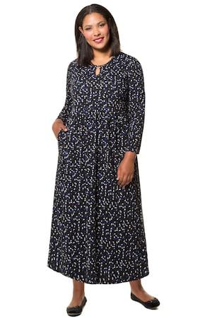 Ulla Popken Kleid, geblümter Jersey, Zier-Ausschnitt, lange Ärmel - Große Größen