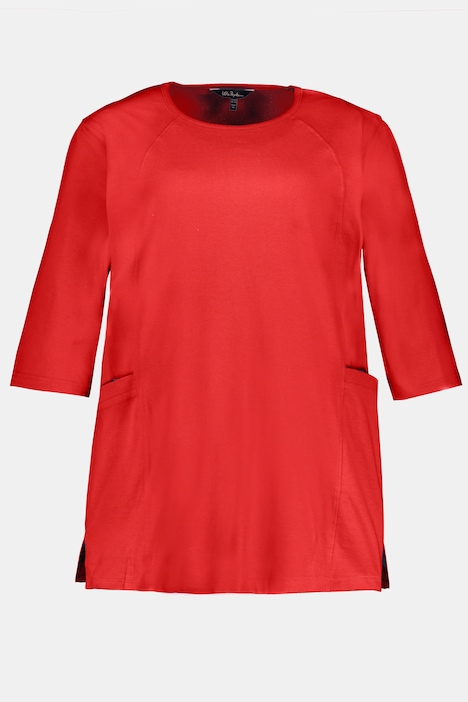 Seamed Pocket Round Neck Cotton Knit Tunic