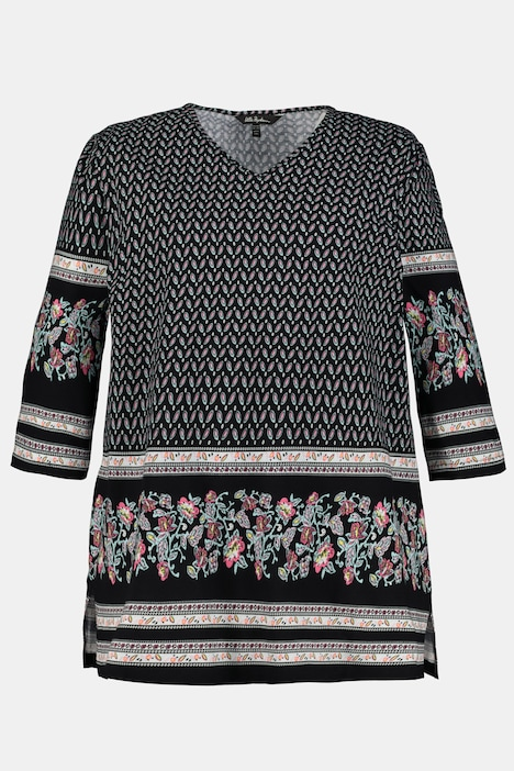 Floral Border Touches Knit Tunic