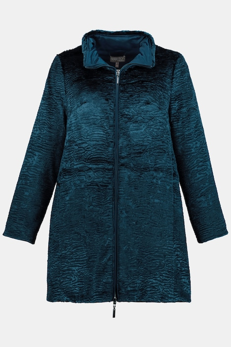 Reversible Faux Persian Lamb Wind Resistant Coat