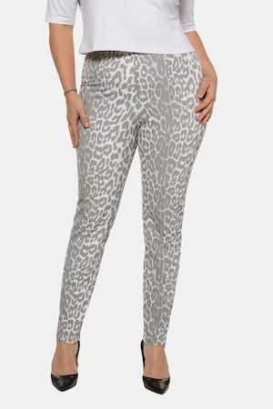 Pantalon Sophie, imprimé léopard, ceinture élastiquée - Grande Taille