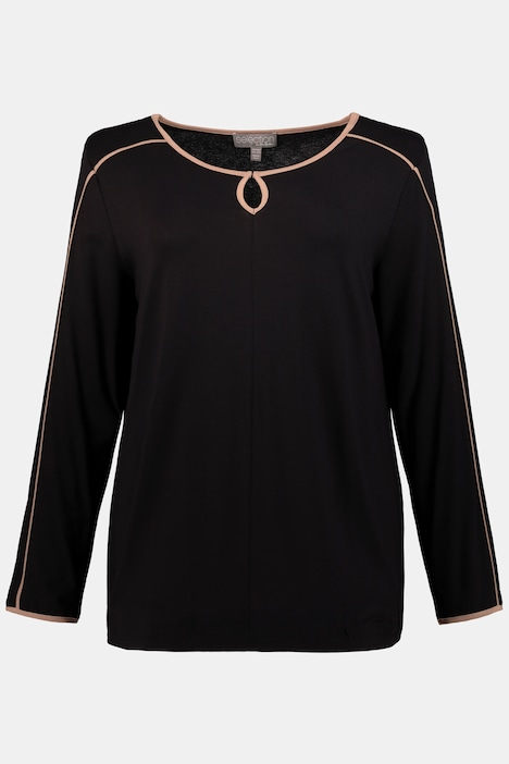 Piping Accent Keyhole Stretch Knit Top