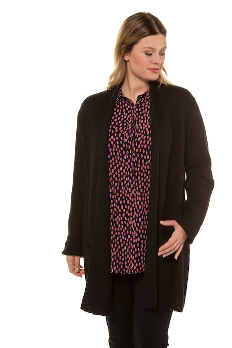 0ee798954 Textured Shawl Collar Open Front Cardigan Sweater