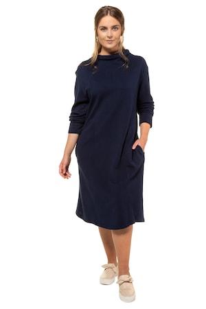 Ulla Popken Kleid, Piqué aus Bio-Baumwolle, Langarm, PURE - Große Größen
