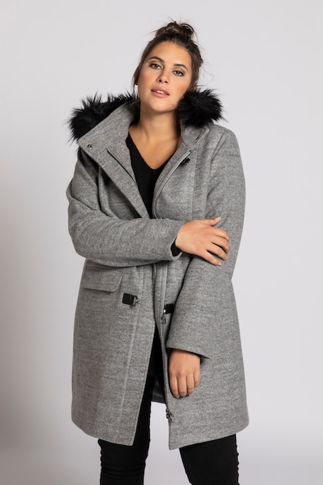 Toggle Faux Fur Trim Hooded Fully Lined Coat