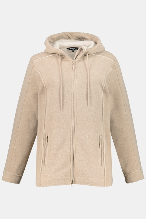 Hooded Fleece Seam Detail Jacket