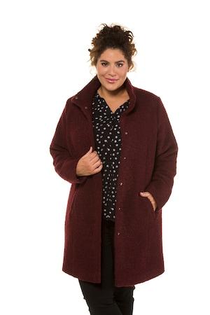 Ulla Popken Bouclé-Mantel, Stehkragen, warme Wollmischung - Große Größen