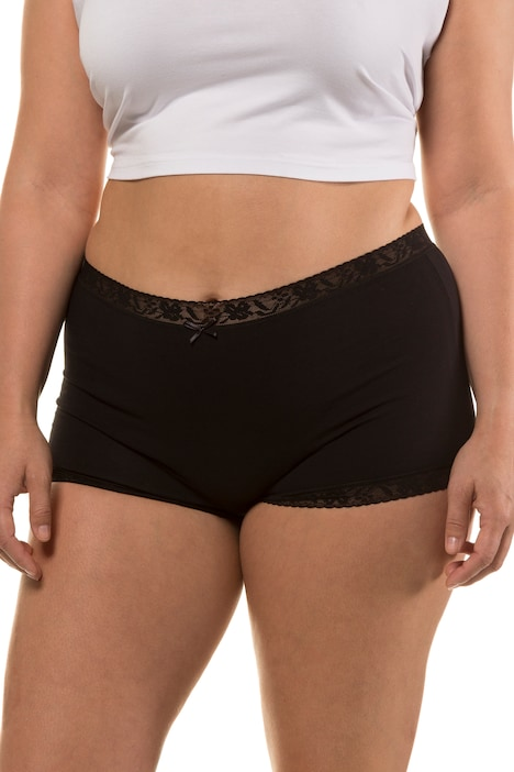 2 Pack of Lace Trim Boyshorts Panties - Black, White