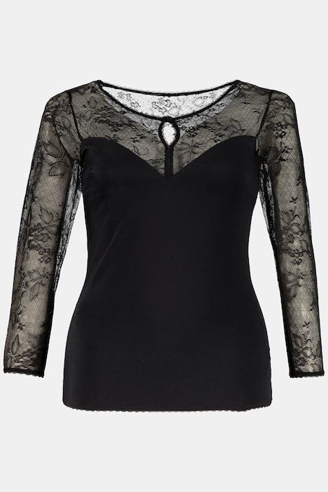 Black Lace Stretch Long Sleeve Shapewear Top