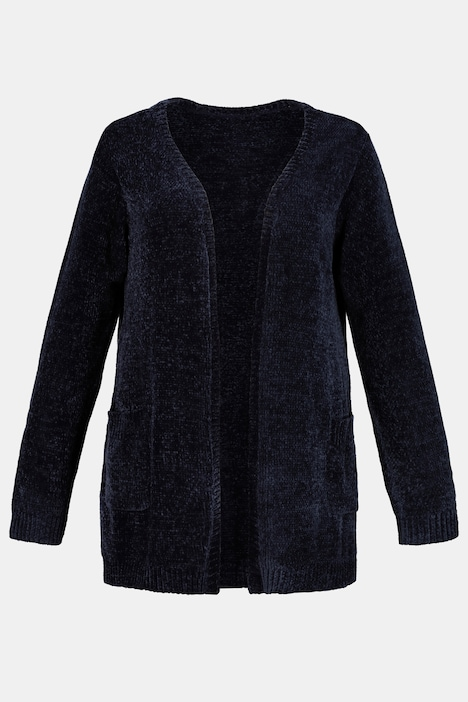 Chenille Open Front Patch Pocket Cardigan Sweater