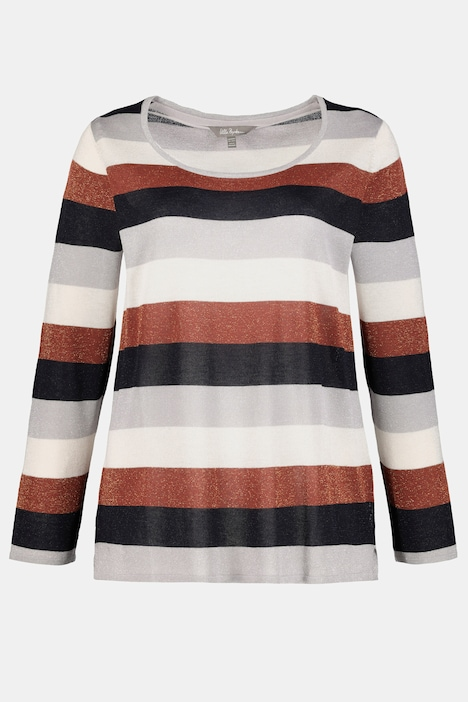 Striped Glitter Metallic Round Neck Sweater