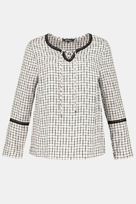 Lace Trim Lace-up Metallic Check Long Sleeves Blouse