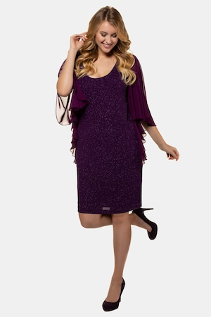 1920s Style Dresses, 20s Dresses Plus Size Touch Of Sparkle Flutter Sleeve Stretch Knit Dress $99.95 AT vintagedancer.com