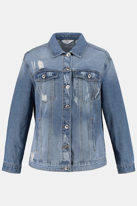 Jeansjacke, destroyed, Perlen-Stickerei hinten, Longform