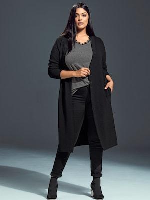 Ulla Popken Lange Strickjacke aus stilvollem Strickmix, offene Form - Große Größen