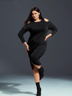 Ulla Popken Kleid mit attraktiven Schulter-Cut-Outs, Strickmix - Große Größen