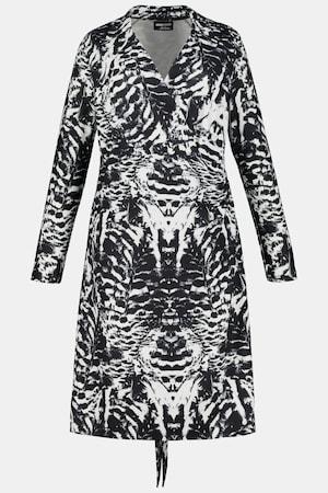 Ulla Popken wikkeljurk met overhemdkraag, bindkoord in de taille, lange mouwen Grote Maten