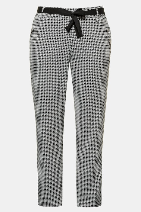 Ribbon Tie Houndstooth Elastic Waist Stretch Pants