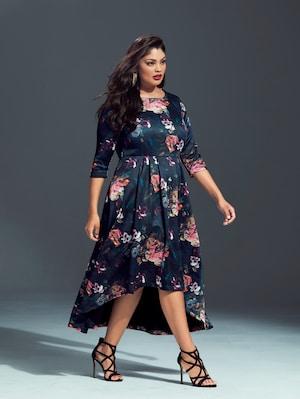Ulla Popken Kleid aus neuartiger Scuba-Qualität, Rosendruck - Große Größen