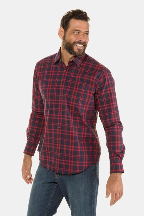 Artikel klicken und genauer betrachten! - Karohemd mit Kentkragen und Brusttasche. Der bewährte JP1880 Modern Fit-Schnitt ist etwas schmaler geschnitten, so dass Sie das Hemd auch einmal modisch über der Hose tragen können. Außerdem denkt JP1880 mit: Für optimalen Komfort machen wir die Hemdenknöpfe ab der Größe 4XL eine Nummer größer. JP1880 - for real men only!   im Online Shop kaufen