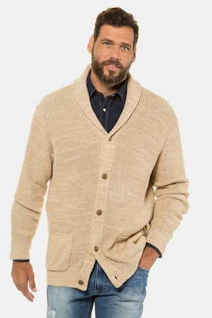 Men's Vintage Sweaters, Retro Jumpers 1920s to 1980s Plus Size Shawl Collar Button Front Cardigan Sweater $89.95 AT vintagedancer.com