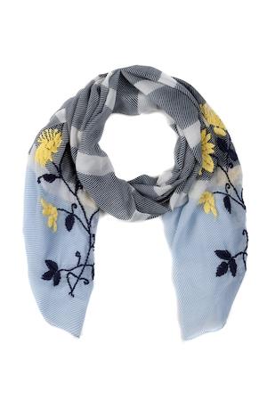 Ulla Popken Schal, Blütenstickerei, Streifen - Große Größen