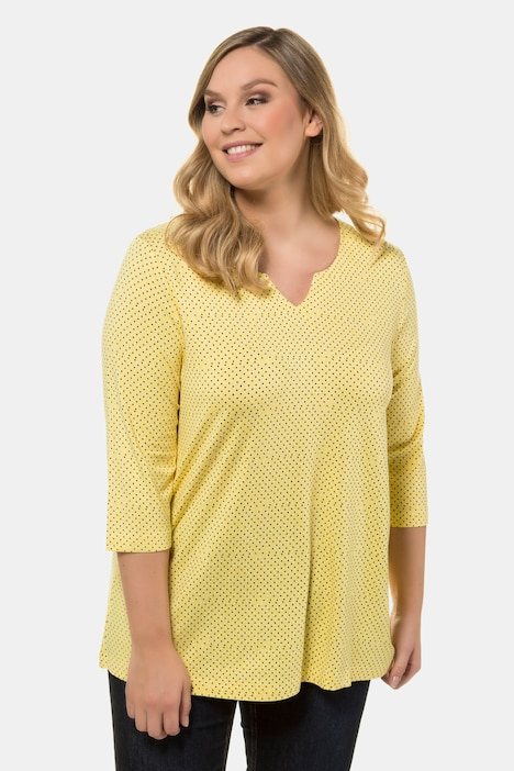 ULLA POPKEN Long Shirt mit Spitzensaum gelb NEU
