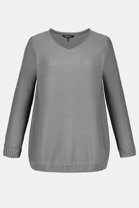 Casual V-Neck Cotton Blend Sweater