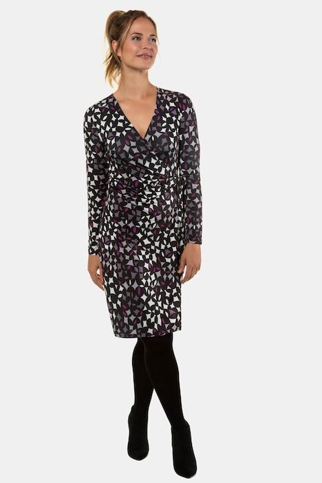Kleid, grafisches Muster, Wickeleffekt, Jersey | weitere ...