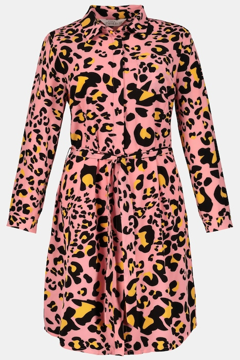 Bright Animal Print Button Front Stretch Shirt Dress