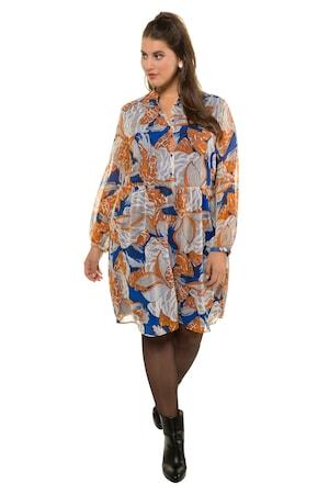 889134f65fd0da Ulla Popken Kleid, Chiffon, Jersey-Unterkleid, Langarm - Große Größen in  multicolor