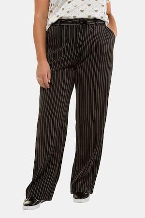 1930s Wide Leg Pants and Beach Pajamas Plus Size Pinstripe Wide Leg Marlene Fit Stretch Pants $55.95 AT vintagedancer.com