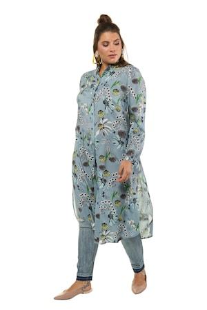 Ulla Popken Bluse, extra lang, Blütenmuster, Seitenschlitze - Große Größen