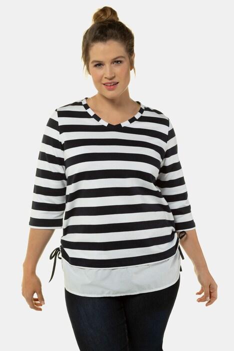Artikel klicken und genauer betrachten! - Sweater mit Blockstreifen, Saum mit Bluseneinsatz und seitlichen Bändern zum Raffen. V-Ausschnitt, 3/4-Ärmel.   im Online Shop kaufen